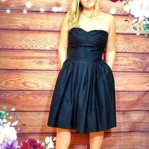 WHBM Black Strapless Fit & Flare Dress